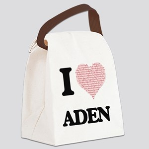 I Love Aden (Heart Made from Love Canvas Lunch Bag