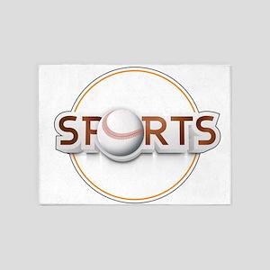 Circular SPORTS Logo with BASEBALL 5'x7'Area Rug