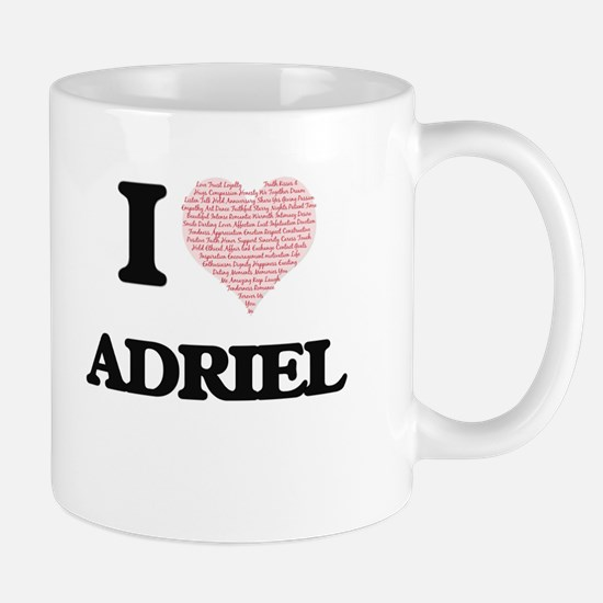 I Love Adriel (Heart Made from Love words) Mugs