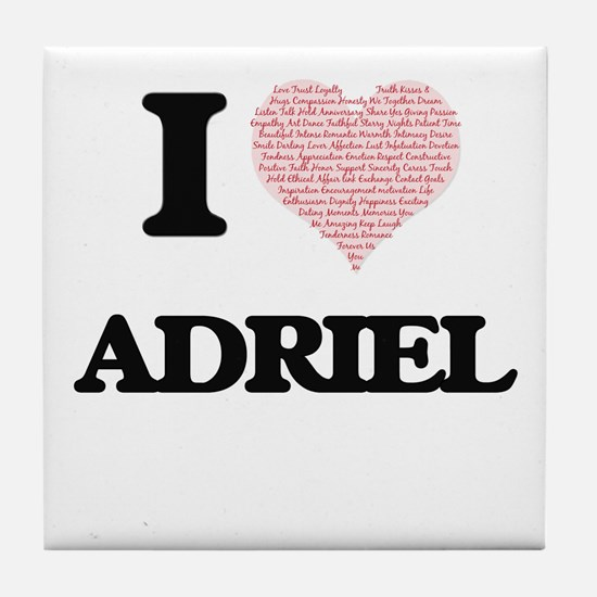 I Love Adriel (Heart Made from Love w Tile Coaster