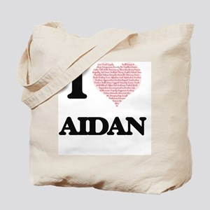I Love Aidan (Heart Made from Love words) Tote Bag