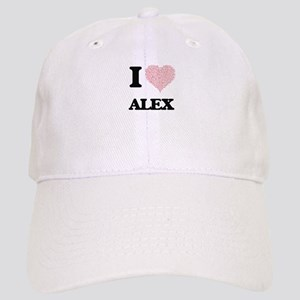 I Love Alex (Heart Made from Love words) Cap