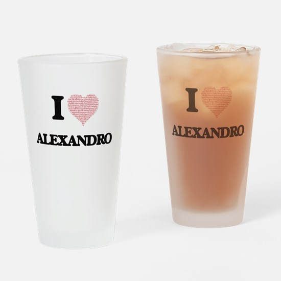 I Love Alexandro (Heart Made from L Drinking Glass
