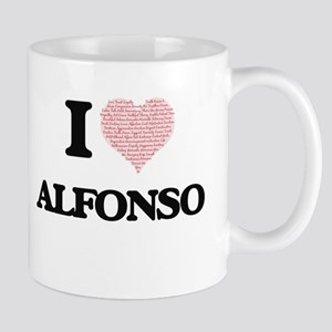 I Love Alfonso (Heart Made from Love words) Mugs