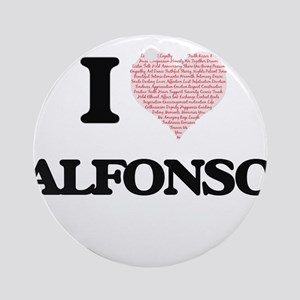 I Love Alfonso (Heart Made from Lov Round Ornament