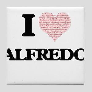 I Love Alfredo (Heart Made from Love Tile Coaster