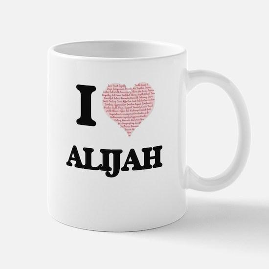 I Love Alijah (Heart Made from Love words) Mugs