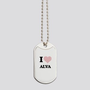 I Love Alva (Heart Made from Love words) Dog Tags