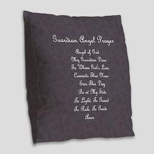 Guardian Angel Prayer Charcoal Burlap Throw Pillow