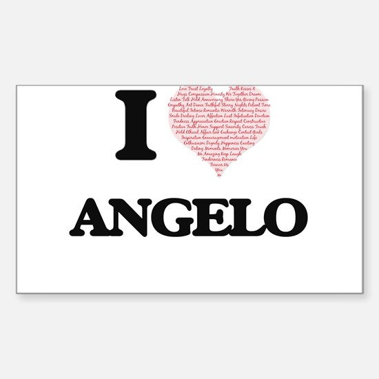 I Love Angelo (Heart Made from Love words) Decal