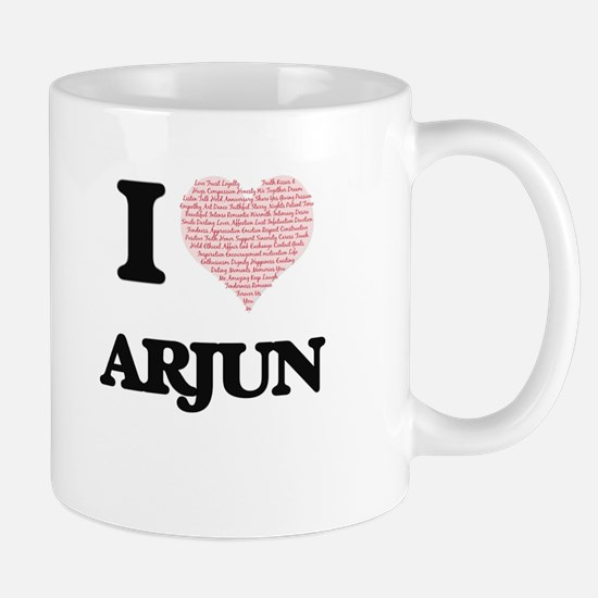 I Love Arjun (Heart Made from Love words) Mugs