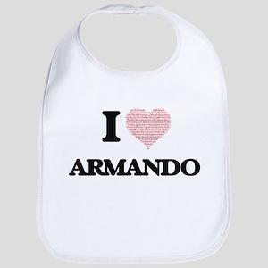 I Love Armando (Heart Made from Love words) Bib