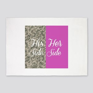 Camo His Side/ pink Her Side 5'x7'Area Rug