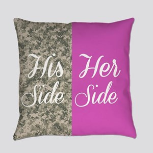 Camo His Side/ pink Her Side Everyday Pillow