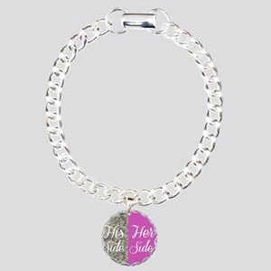 Camo His Side/ pink Her Charm Bracelet, One Charm