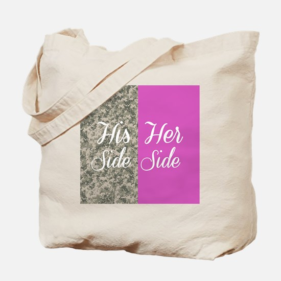 Camo His Side/ pink Her Side Tote Bag