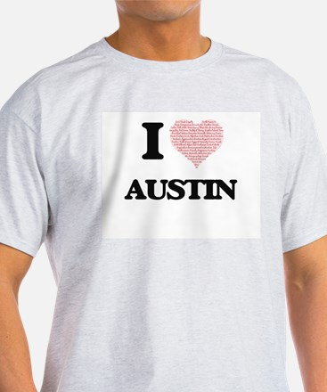 I Love Austin (Heart Made from Love words) T-Shirt