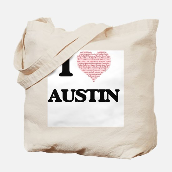 I Love Austin (Heart Made from Love words Tote Bag