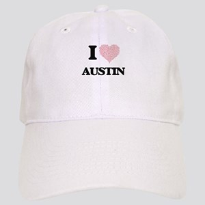 I Love Austin (Heart Made from Love words) Cap