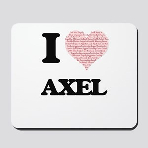 I Love Axel (Heart Made from Love words) Mousepad