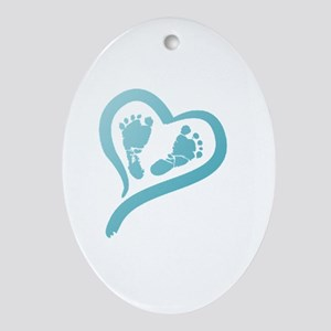 Baby Prints in Heart by LH Oval Ornament