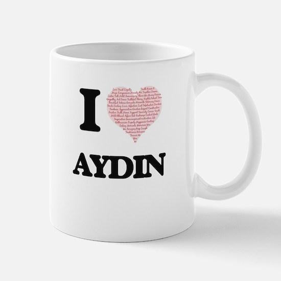 I Love Aydin (Heart Made from Love words) Mugs