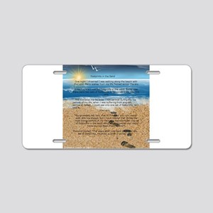 Footprints in the Sand Aluminum License Plate