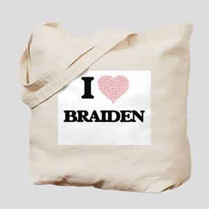 I Love Braiden (Heart Made from Love word Tote Bag