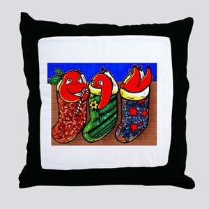 christmas sloth stockings Throw Pillow