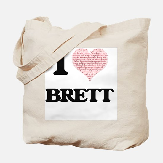 I Love Brett (Heart Made from Love words) Tote Bag
