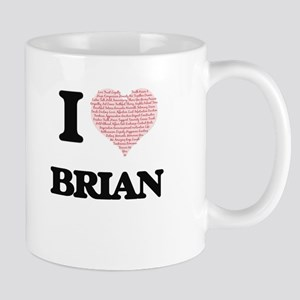 I Love Brian (Heart Made from Love words) Mugs