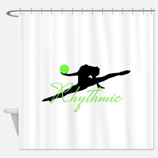 Green Rhythmic Gymnast Shower Curtain