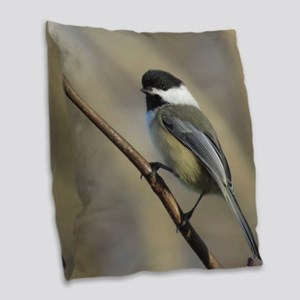 Chickadee Bird Burlap Throw Pillow