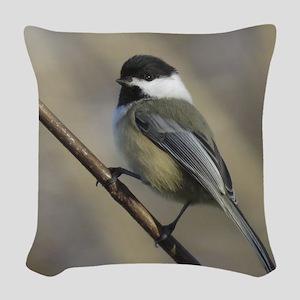 Chickadee Bird Woven Throw Pillow