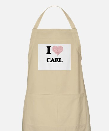 I Love Cael (Heart Made from Love words) Apron