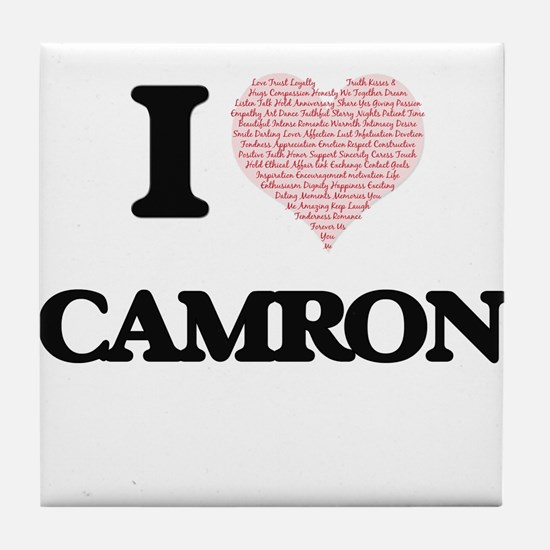 I Love Camron (Heart Made from Love w Tile Coaster