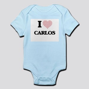 I Love Carlos (Heart Made from Love word Body Suit
