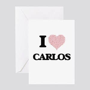 I Love Carlos (Heart Made from Love Greeting Cards