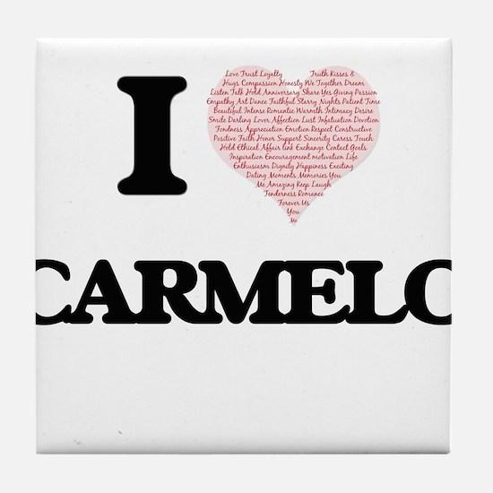 I Love Carmelo (Heart Made from Love Tile Coaster
