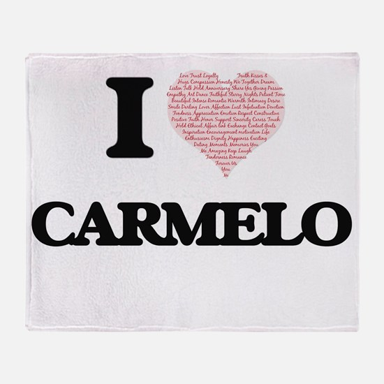 I Love Carmelo (Heart Made from Love Throw Blanket