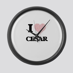 I Love Cesar (Heart Made from Lov Large Wall Clock