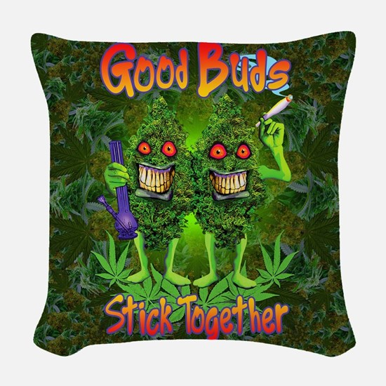 Good Buds Stick Together Woven Throw Pillow