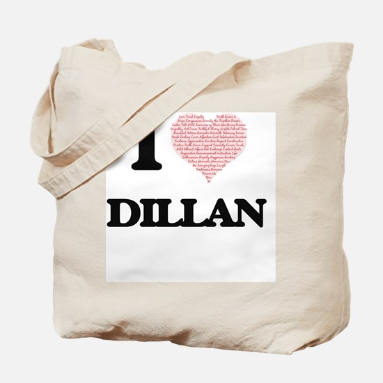 I Love Dillan (Heart Made from Love words Tote Bag