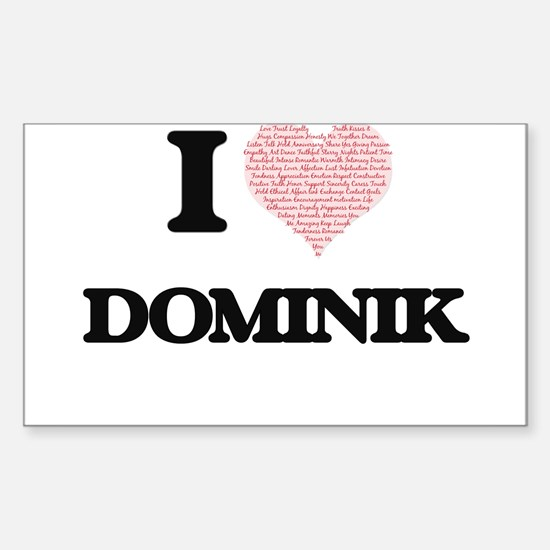 I Love Dominik (Heart Made from Love words Decal