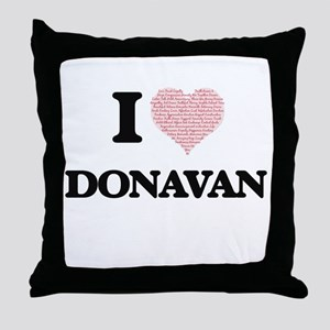 I Love Donavan (Heart Made from Love Throw Pillow