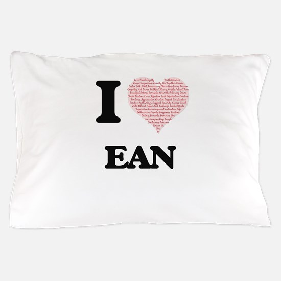 I Love Ean (Heart Made from Love words Pillow Case