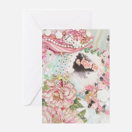 Pink Rose Lady Greeting Cards