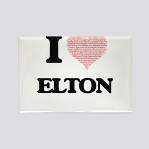 I Love Elton (Heart Made from Love words) Magnets