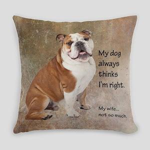 Bulldog v Wife Everyday Pillow
