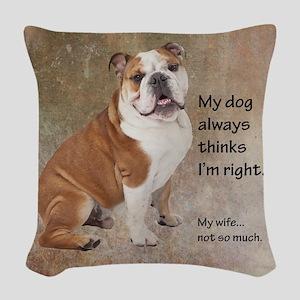 Bulldog v Wife Woven Throw Pillow